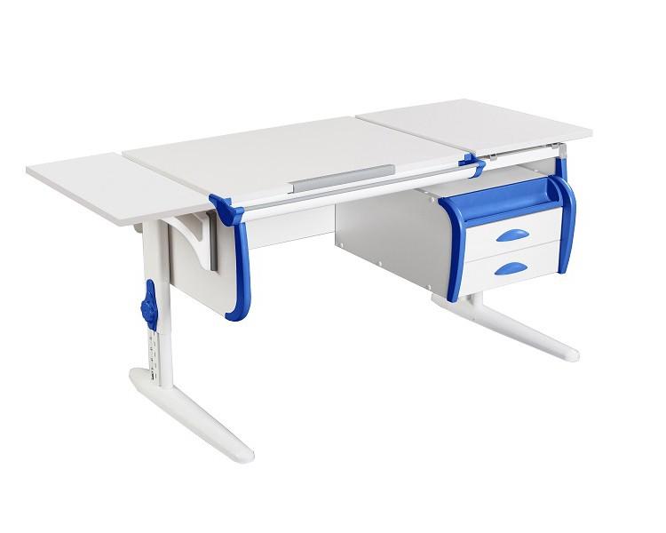 Парта Дэми СУТ-25-03К White Double Белый СинийПарты и столы<br><br>Цвет материала: Белый; Цвет каркаса: Белый; Цвет: Синий; Бренд: Дэми; Ширина (см): 145; Глубина (см): 55; Высота (см): 53-81,5;