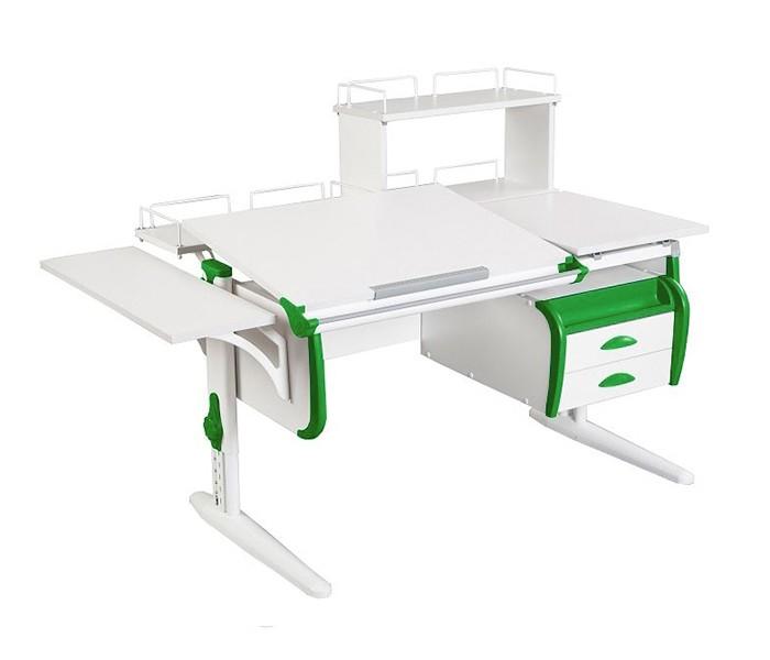 Парта Дэми СУТ-25-05Д White Double  Белый ЗеленыйПарты и столы<br><br>Цвет материала: Белый; Цвет каркаса: Белый; Цвет: Зеленый; Бренд: Дэми; Ширина (см): 140; Глубина (см): 80; Высота (см): 53-81,5;