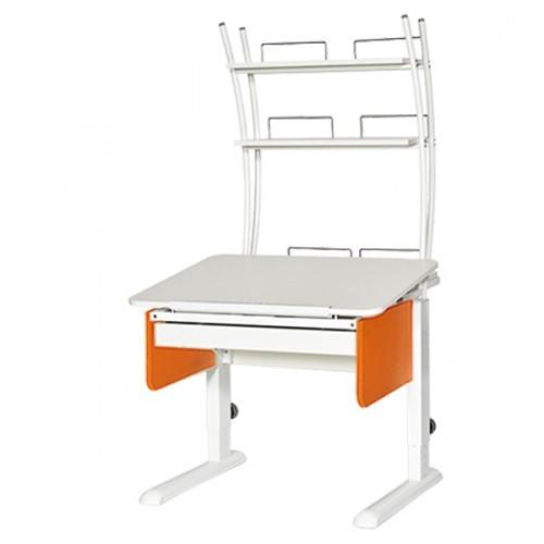 Парта Астек Юниор с ящиком и надстройкой Белый Белый ОранжевыйПарты Астек<br><br>Цвет материала: Белый; Цвет каркаса: Белый; Цвет: Оранжевый; Бренд: Астек; Ширина (см): 80; Глубина (см): 85; Высота (см): 53-78;