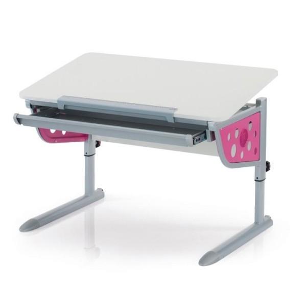 Парта Kettler Logo Plus Белый РозовыйПарты и столы<br><br>Цвет: Белый; Цвет боковин: Розовый; Бренд: Kettler; Ширина (см): 110; Глубина (см): 68; Высота (см): 54-83;