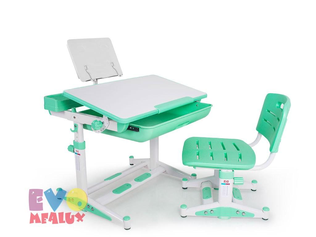 Комплект парта и стул Mealux EVO-04 New Белый ЗеленыйПарты и столы<br><br>Цвет материала: Белый; Цвет: Зеленый; Бренд: Mealux; Ширина (см): 70; Глубина (см): 55; Высота (см): 52-76;