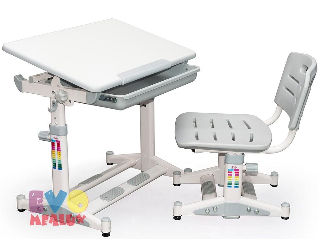 Комплект парта и стул Mealux EVO-06 New Белый СерыйПарты и столы<br><br>Цвет материала: Белый; Цвет: Серый; Бренд: Mealux; Ширина (см): 65; Глубина (см): 43; Высота (см): 52-76;