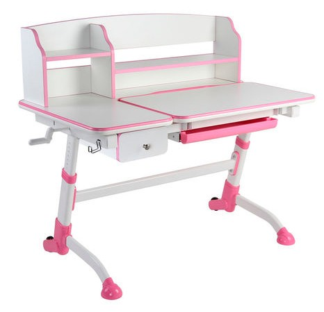 Парта-трансформер FunDesk Amare II с выдвижным ящичком Белый РозовыйПарты и столы<br><br>Цвет материала: Белый; Цвет: Розовый; Бренд: FunDesk; Ширина (см): 119; Глубина (см): 73; Высота (см): 94,5-116,5;