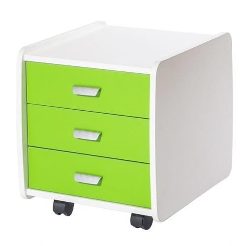 Купить со скидкой Тумба Астек 3 ящика с цветными фасадами Белый Зеленый
