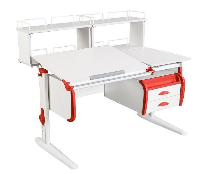Парта Дэми СУТ-25-04Д2 White Double Белый КрасныйПарты и столы<br><br>Цвет материала: Белый; Цвет каркаса: Белый; Цвет: Красный; Бренд: Дэми; Ширина (см): 120; Глубина (см): 80; Высота (см): 53-81,5;