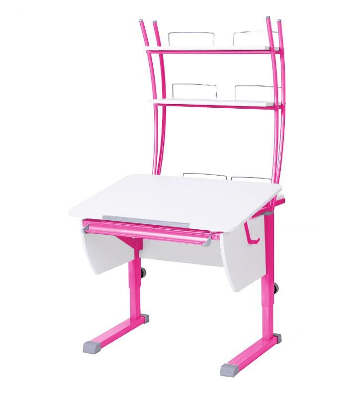 Парта Астек Колибри с надстройкой Белый РозовыйПарты и столы<br><br>Цвет материала: Белый; Цвет каркаса: Розовый; Бренд: Астек; Ширина (см): 80; Глубина (см): 85; Высота (см): 53-78;