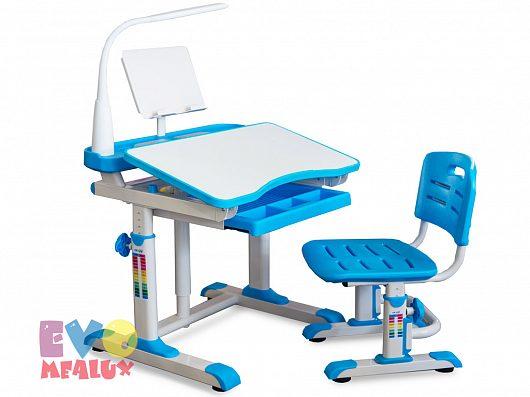 Комплект парта и стульчик Mealux EVO-09 с лампой Белый ГолубойПарты и столы<br><br>Цвет материала: Белый; Цвет: Голубой; Бренд: Mealux; Ширина (см): 70; Глубина (см): 60; Высота (см): 52-78;