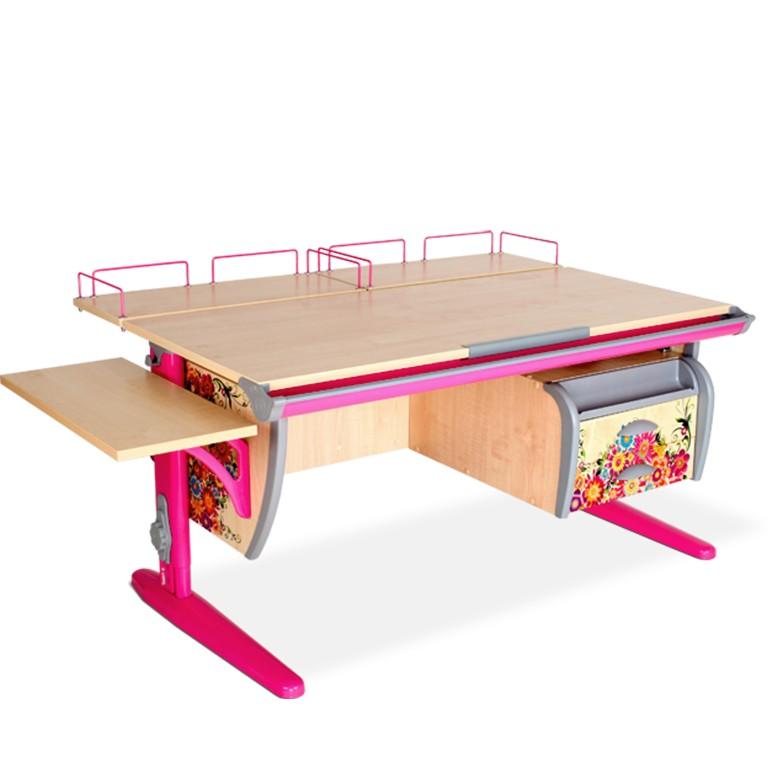 Парта Дэми СУТ-15-05 Цветы РозовыйПарты и столы<br><br>Цвет материала: Цветы; Цвет каркаса: Розовый; Бренд: Дэми; Ширина (см): 145; Глубина (см): 80; Высота (см): 53-81,5;
