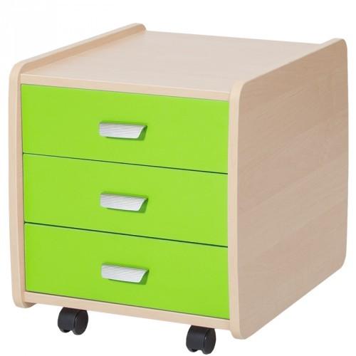 Тумба Астек 3 ящика с цветными фасадами Береза Зеленый