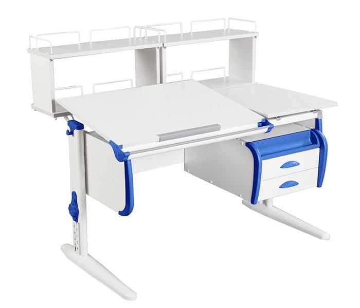 Парта Дэми СУТ-25-04Д2 White Double Белый СинийПарты и столы<br><br>Цвет материала: Белый; Цвет каркаса: Белый; Цвет: Синий; Бренд: Дэми; Ширина (см): 120; Глубина (см): 80; Высота (см): 53-81,5;