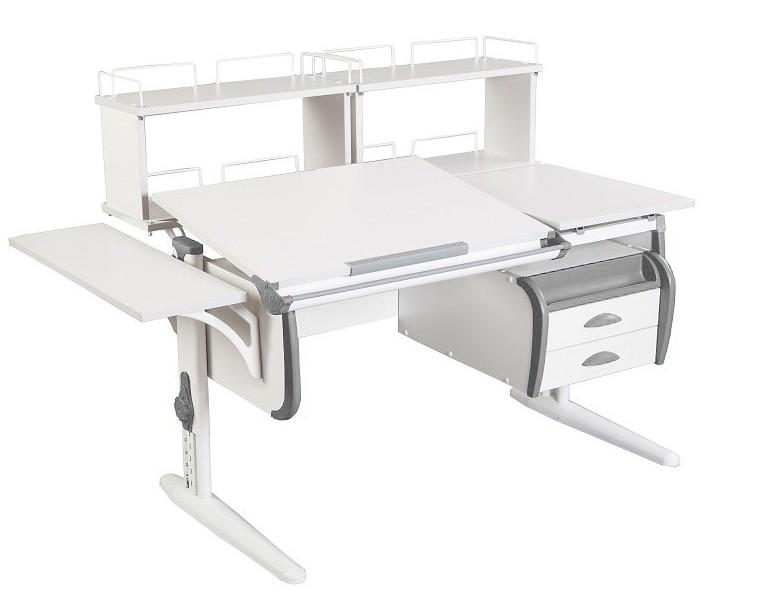Парта Дэми СУТ-25-05Д2 White Double Белый СерыйПарты и столы<br><br>Цвет материала: Белый; Цвет каркаса: Белый; Цвет: Серый; Бренд: Дэми; Ширина (см): 145; Глубина (см): 80; Высота (см): 53-81,5;