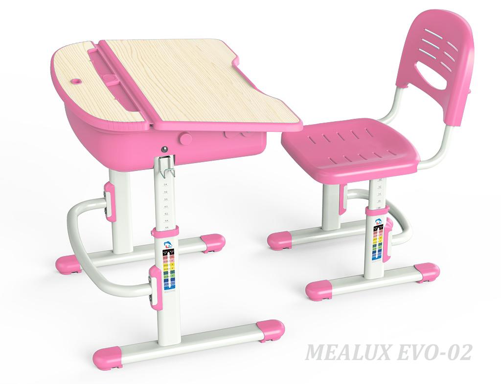 Комплект парта и стул Mealux EVO-02 РозовыйПарты и столы<br><br>Цвет материала: Клен; Цвет: Розовый; Бренд: Mealux; Ширина (см): 70; Глубина (см): 54; Высота (см): 54-76;