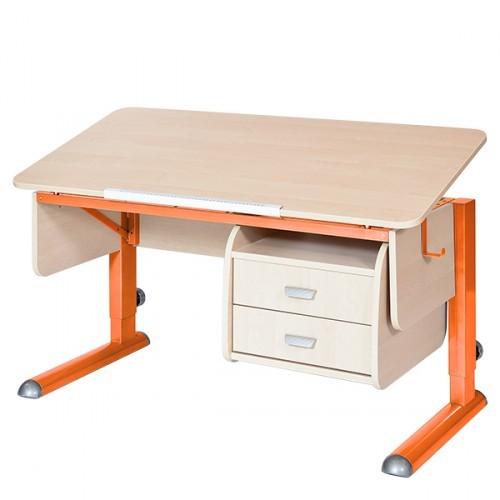 Парта Астек Моно-2 с тумбой Береза ОранжевыйПарты и столы<br><br>Цвет материала: Береза; Цвет каркаса: Оранжевый; Бренд: Астек; Ширина (см): 115; Глубина (см): 58; Высота (см): 53-78;