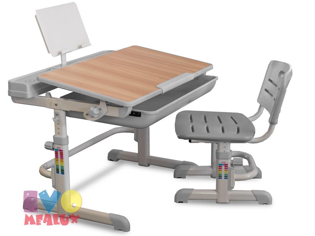Комплект парта и стул Mealux EVO-04 XL Клен СерыйПарты и столы<br><br>Цвет материала: Клен; Цвет: Серый; Бренд: Mealux; Ширина (см): 80; Глубина (см): 61; Высота (см): 52-76;