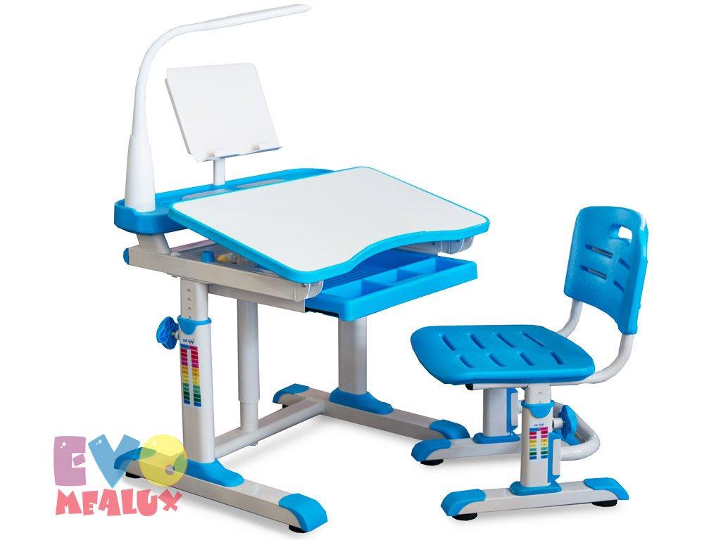 Комплект парта и стульчик Mealux EVO-09 XL с лампой Белый ГолубойПарты и столы<br><br>Цвет материала: Белый; Цвет: Голубой; Бренд: Mealux; Ширина (см): 80; Глубина (см): 60; Высота (см): 52-78;