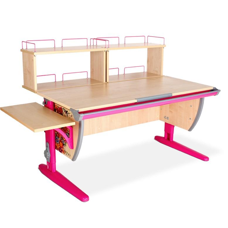 Парта Дэми СУТ-15-02Д2 Цветы РозовыйПарты и столы<br><br>Цвет материала: Цветы; Цвет каркаса: Розовый; Бренд: Дэми; Ширина (см): 145; Глубина (см): 80; Высота (см): 53-81,5;