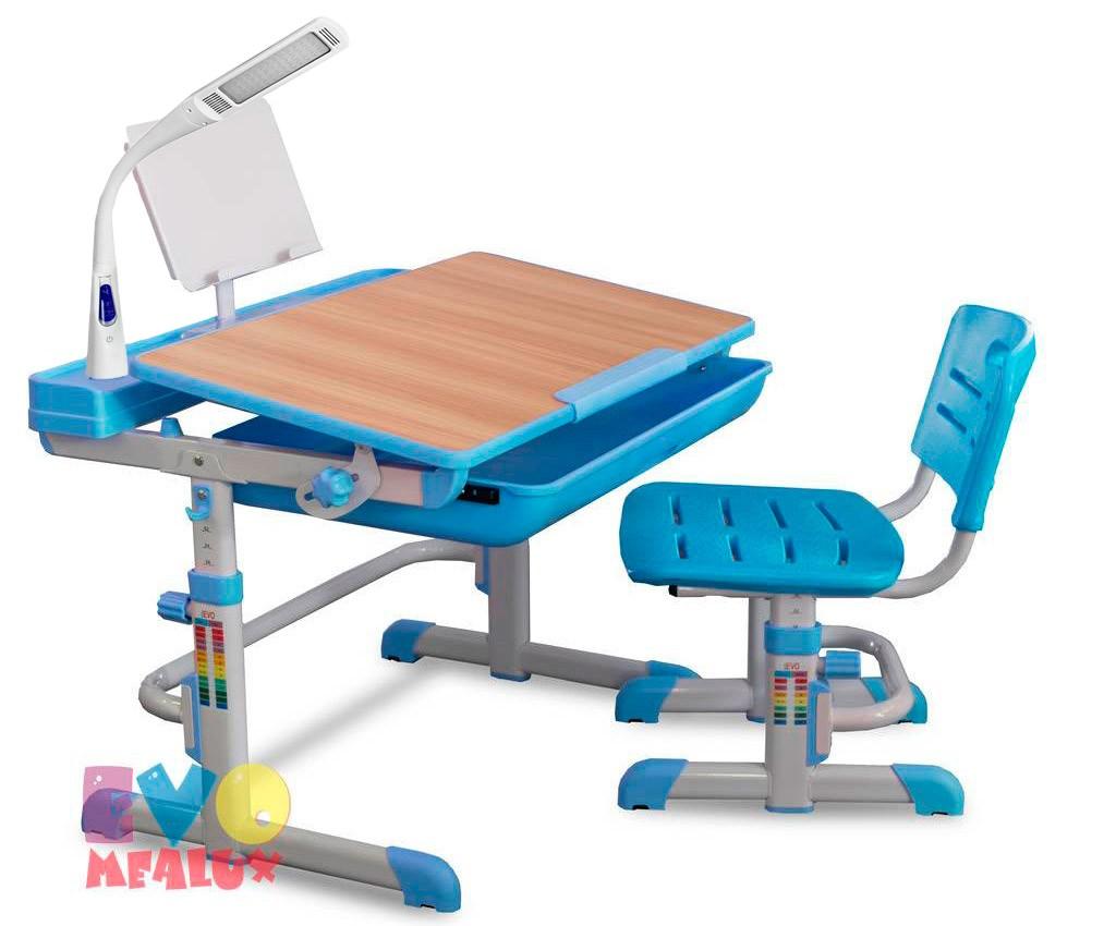 Комплект парта и стул Mealux EVO-04 с лампой Клен ГолубойПарты и столы<br><br>Цвет материала: Клен; Цвет: Голубой; Бренд: Mealux; Ширина (см): 70; Глубина (см): 52; Высота (см): 52-76;