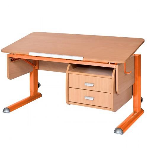 Парта Астек Моно-2 с тумбой Бук ОранжевыйПарты и столы<br><br>Цвет материала: Бук; Цвет каркаса: Оранжевый; Бренд: Астек; Ширина (см): 115; Глубина (см): 58; Высота (см): 53-78;