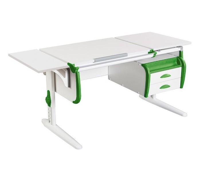 Парта Дэми СУТ-25-03К White Double Белый ЗеленыйПарты и столы<br><br>Цвет материала: Белый; Цвет каркаса: Белый; Цвет: Зеленый; Бренд: Дэми; Ширина (см): 145; Глубина (см): 55; Высота (см): 53-81,5;