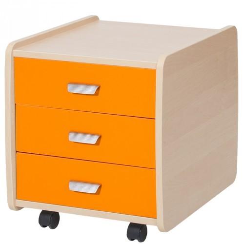 Тумба Астек 3 ящика с цветными фасадами Береза ОранжевыйТумбы, стеллажи<br><br>Цвет материала: Береза; Цвет: Оранжевый; Бренд: Астек; Ширина (см): 40; Глубина (см): 47,5; Высота (см): 45;