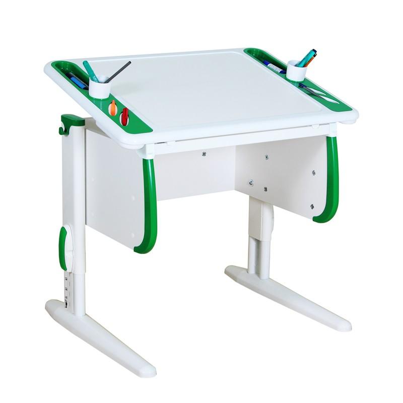 Парта Дэми White-Techno Mini СУТ-26 Белый ЗеленыйСУТ-26<br><br>Цвет материала: Белый; Цвет: Зеленый; Бренд: Дэми; Ширина (см): 80; Глубина (см): 55; Высота (см): 53-81,5;