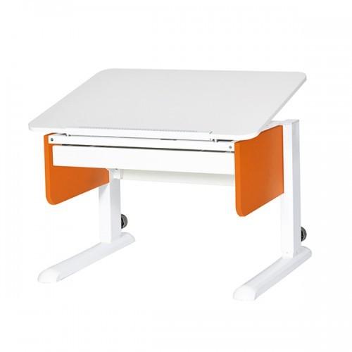 Парта Астек Юниор с ящиком Белый Белый ОранжевыйПарты и столы<br><br>Цвет материала: Белый; Цвет каркаса: Белый; Цвет: Оранжевый; Бренд: Астек; Ширина (см): 80; Глубина (см): 58; Высота (см): 53-78;