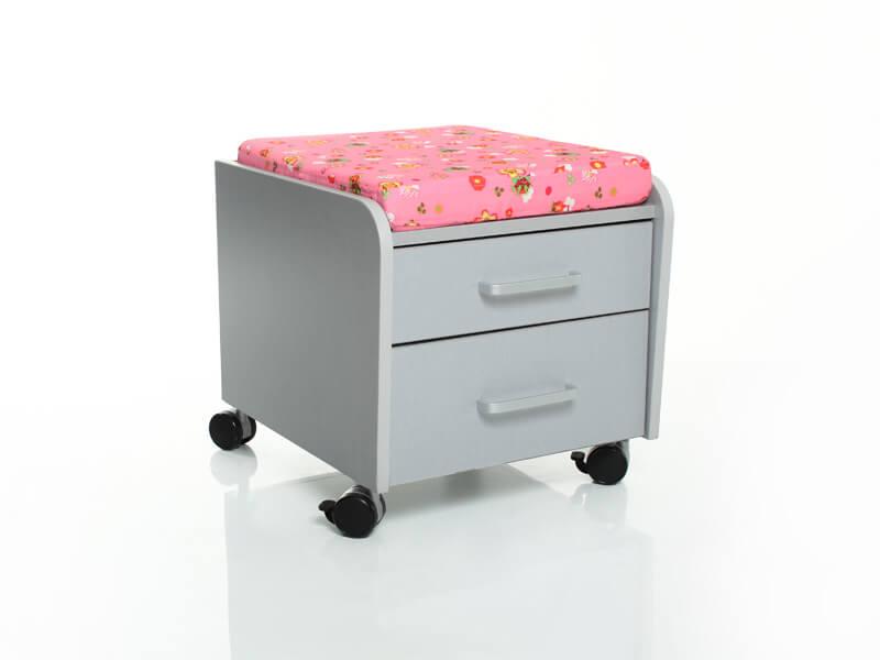 Тумбочка Comf-Pro BD-C2 с подушкой Серый Розовый с цветами
