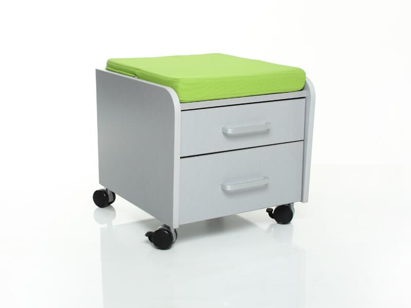 Тумбочка Comf-Pro BD-C2 с подушкой Серый ЗеленыйТумбы, стеллажи<br><br>Цвет материала: Серый; Цвет обивки кресла: Зеленый; Бренд: Comf-Pro; Ширина (см): 41; Глубина (см): 46; Высота (см): 41;