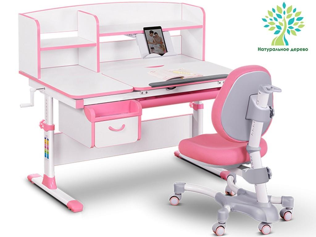 Комплект парта и кресло Mealux EVO-50 (дерево) Белый Розовый