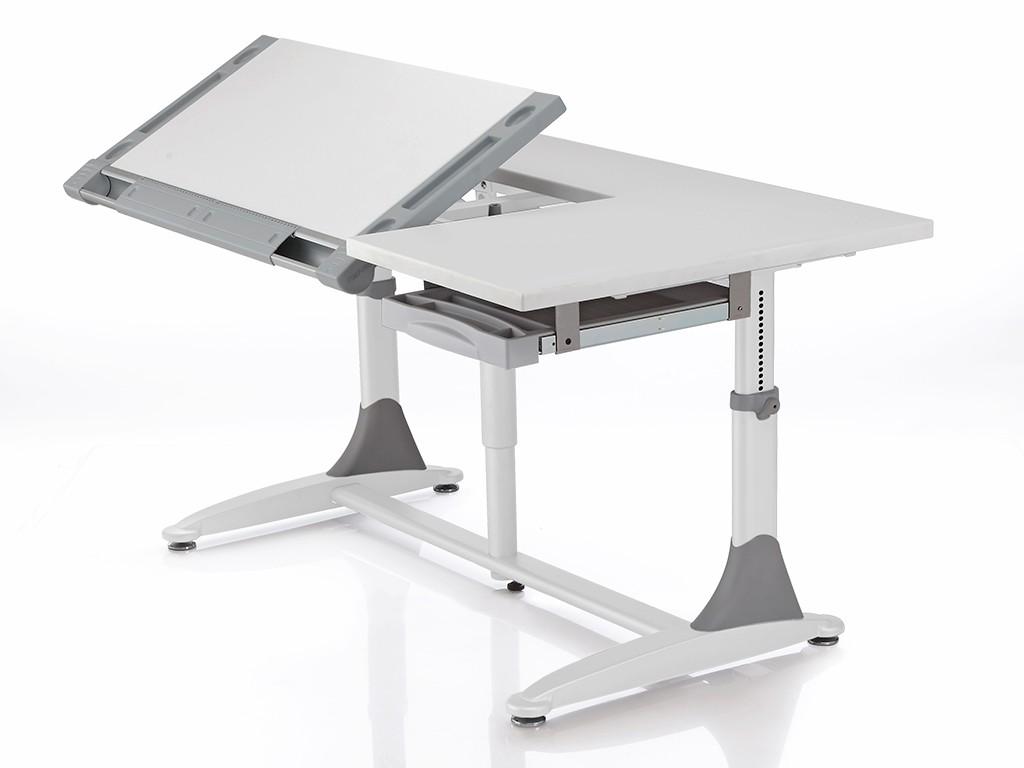 Стол Comf-Pro King (Кинг) Белый СерыйПарты и столы<br><br>Цвет материала: Белый; Цвет: Серый; Бренд: Comf-Pro; Ширина (см): 140; Глубина (см): 77; Высота (см): 53-77;