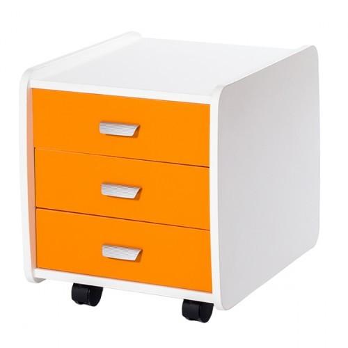 Тумба Астек 3 ящика с цветными фасадами Белый Оранжевый