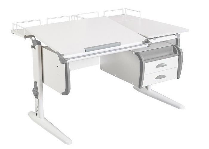 Парта Дэми СУТ-25-04 White Double Белый СерыйПарты и столы<br><br>Цвет материала: Белый; Цвет каркаса: Белый; Цвет: Серый; Бренд: Дэми; Ширина (см): 120; Глубина (см): 80; Высота (см): 53-81,5;