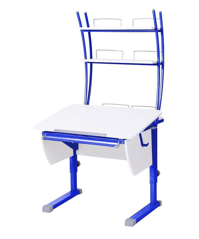 Парта Астек Колибри с надстройкой Белый СинийПарты и столы<br><br>Цвет материала: Белый; Цвет каркаса: Синий; Бренд: Астек; Ширина (см): 80; Глубина (см): 85; Высота (см): 53-78;