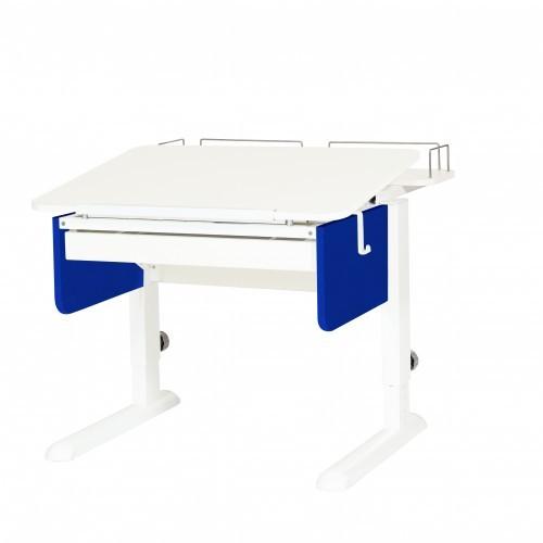 Парта Астек Юниор с ящиком и фронтальной полкой Белый Белый СинийПарты Астек<br><br>Цвет материала: Белый; Цвет каркаса: Белый; Цвет: Синий; Бренд: Астек; Ширина (см): 80; Глубина (см): 85; Высота (см): 53-78;