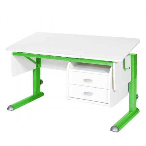 Парта Астек Моно-2 с тумбой Белый ЗеленыйПарты и столы<br><br>Цвет материала: Белый; Цвет каркаса: Зеленый; Бренд: Астек; Ширина (см): 115; Глубина (см): 58; Высота (см): 53-78;