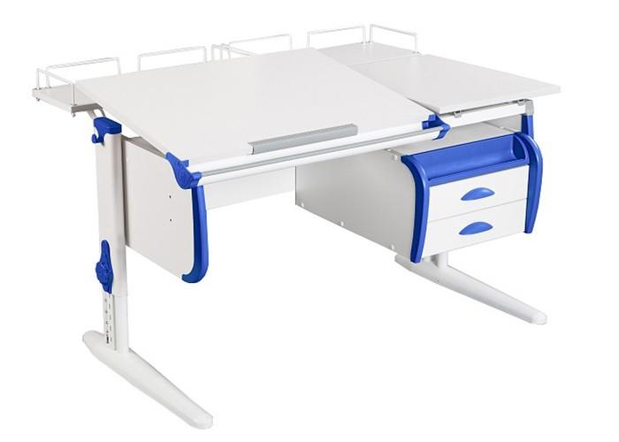 Парта Дэми СУТ-25-04 White Double Белый СинийПарты и столы<br><br>Цвет материала: Белый; Цвет каркаса: Белый; Цвет: Синий; Бренд: Дэми; Ширина (см): 120; Глубина (см): 80; Высота (см): 53-81,5;