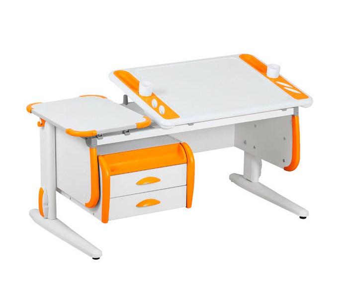 Парта Дэми White-Techno Maxi СУТ-31-03 Белый ОранжевыйПарты и столы<br><br>Цвет материала: Белый; Цвет: Оранжевый; Бренд: Дэми; Ширина (см): 120; Глубина (см): 55; Высота (см): 53-81,5;