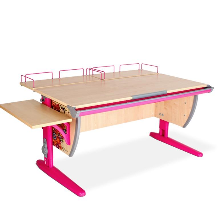 Парта Дэми СУТ-15-02 Цветы РозовыйПарты и столы<br><br>Цвет материала: Цветы; Цвет каркаса: Розовый; Бренд: Дэми; Ширина (см): 145; Глубина (см): 80; Высота (см): 53-81,5;