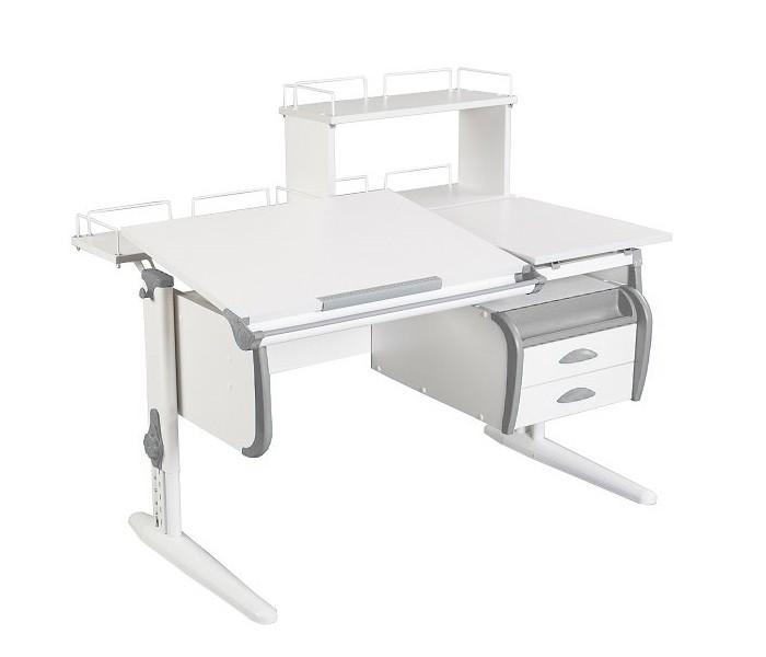 Парта Дэми СУТ-25-04Д White Double Белый СерыйПарты и столы<br><br>Цвет материала: Белый; Цвет каркаса: Белый; Цвет: Серый; Бренд: Дэми; Ширина (см): 120; Глубина (см): 80; Высота (см): 53-81,5;