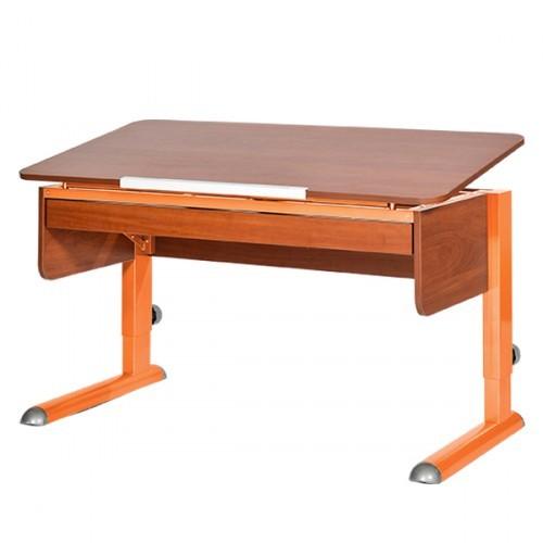 Парта Астек Моно-2 с выдвижным ящиком Яблоня ОранжевыйПарты и столы<br><br>Цвет материала: Яблоня; Цвет каркаса: Оранжевый; Бренд: Астек; Ширина (см): 115; Глубина (см): 58; Высота (см): 53-78;