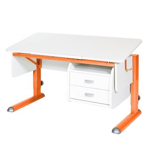 Парта Астек Моно-2 с тумбой Белый ОранжевыйПарты и столы<br><br>Цвет материала: Белый; Цвет каркаса: Оранжевый; Бренд: Астек; Ширина (см): 115; Глубина (см): 58; Высота (см): 53-78;