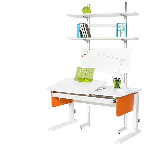 Парта Астек Лидер со стеллажом Белый Белый ОранжевыйПарты и столы<br><br>Цвет материала: Белый; Цвет каркаса: Белый; Цвет: Оранжевый; Бренд: Астек; Ширина (см): 120; Глубина (см): 72; Высота (см): 53-78;