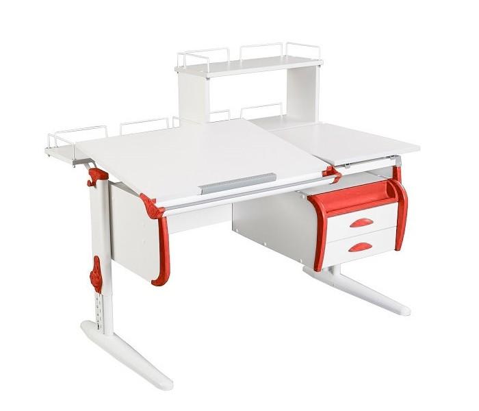 Парта Дэми СУТ-25-04Д White Double Белый КрасныйПарты и столы<br><br>Цвет материала: Белый; Цвет каркаса: Белый; Цвет: Красный; Бренд: Дэми; Ширина (см): 120; Глубина (см): 80; Высота (см): 53-81,5;