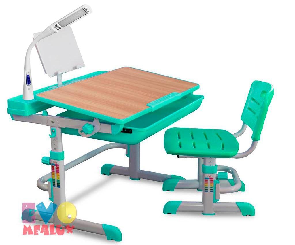 Комплект парта и стул Mealux EVO-04 XL с лампой Клен ЗеленыйПарты и столы<br><br>Цвет материала: Клен; Цвет: Зеленый; Бренд: Mealux; Ширина (см): 80; Глубина (см): 61; Высота (см): 52-76;