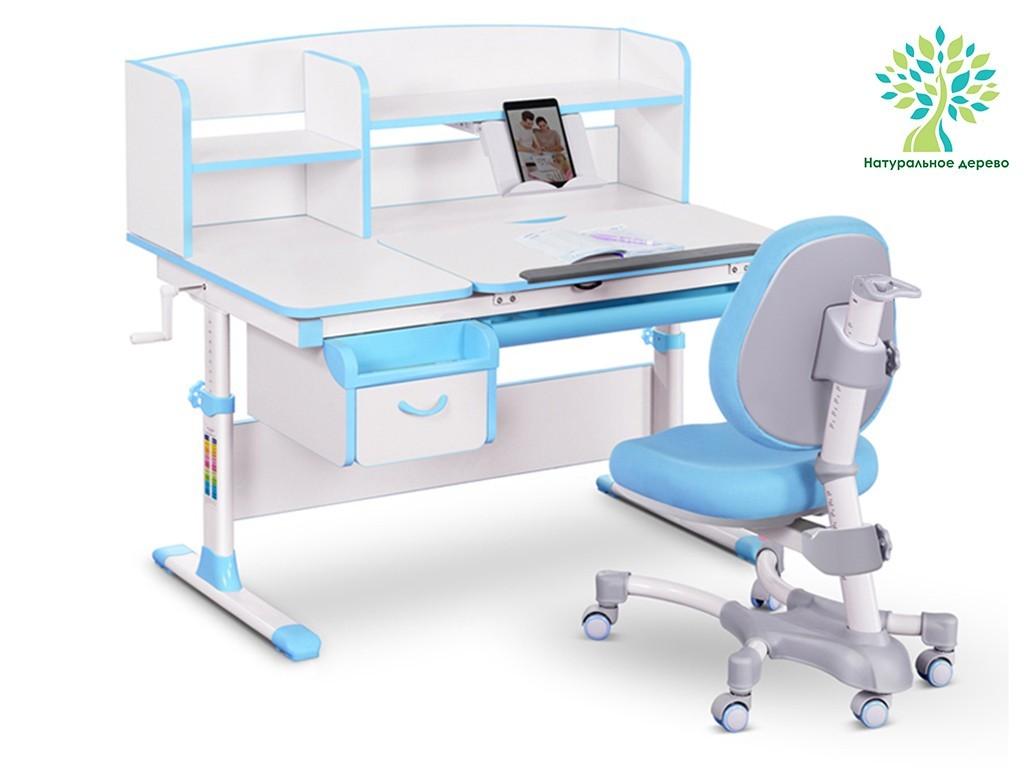 Комплект парта и кресло Mealux EVO-50 (дерево) Белый Голубой