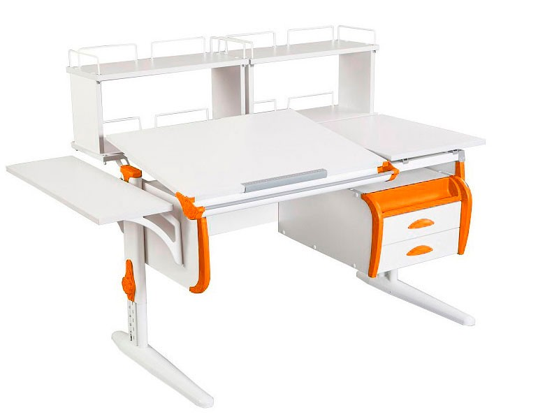 Парта Дэми СУТ-25-05Д2 White Double Белый ОранжевыйПарты и столы<br><br>Цвет материала: Белый; Цвет каркаса: Белый; Цвет: Оранжевый; Бренд: Дэми; Ширина (см): 145; Глубина (см): 80; Высота (см): 53-81,5;