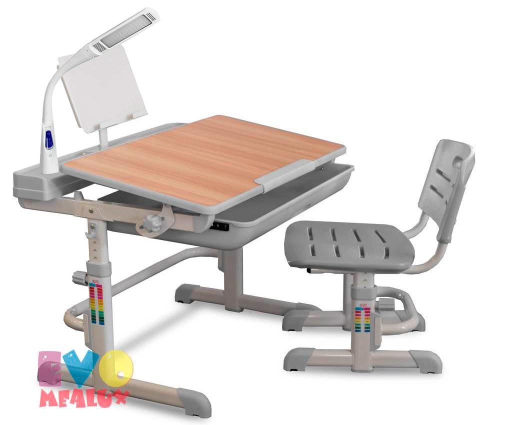 Комплект парта и стул Mealux EVO-04 XL с лампой Клен СерыйПарты и столы<br><br>Цвет материала: Клен; Цвет: Серый; Бренд: Mealux; Ширина (см): 80; Глубина (см): 61; Высота (см): 52-76;