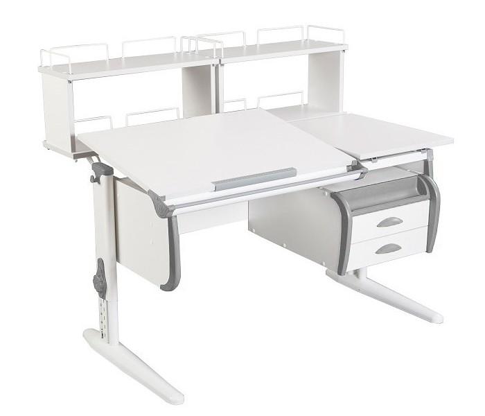 Парта Дэми СУТ-25-04Д2 White Double Белый СерыйПарты и столы<br><br>Цвет материала: Белый; Цвет каркаса: Белый; Цвет: Серый; Бренд: Дэми; Ширина (см): 120; Глубина (см): 80; Высота (см): 53-81,5;