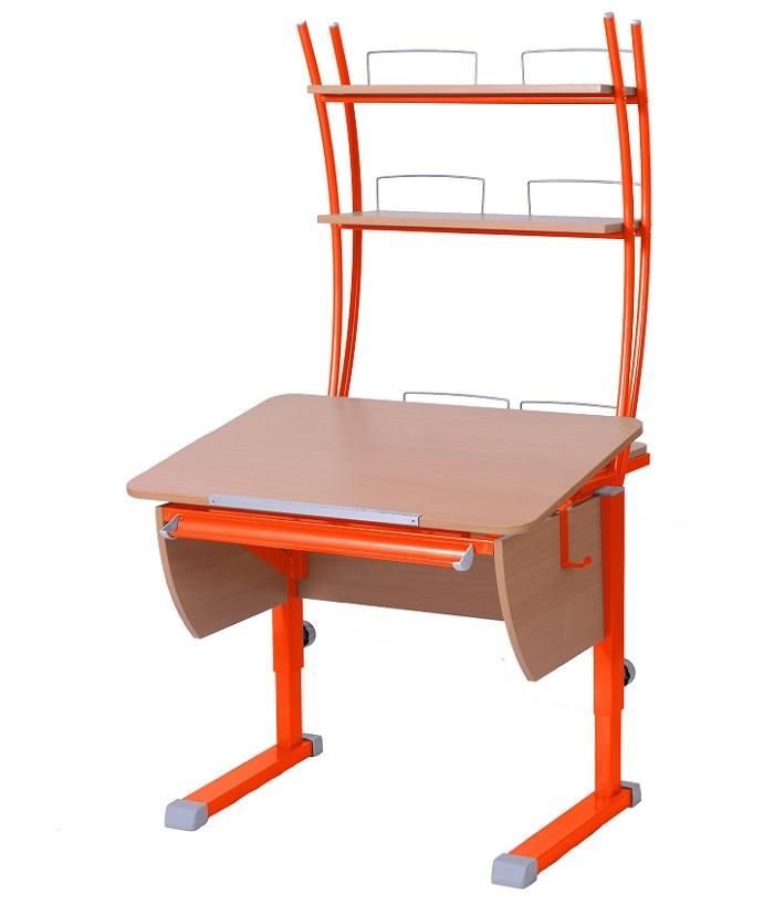 Парта Астек Колибри с надстройкой Бук ОранжевыйПарты и столы<br><br>Цвет материала: Бук; Цвет каркаса: Оранжевый; Бренд: Астек; Ширина (см): 80; Глубина (см): 85; Высота (см): 53-78;