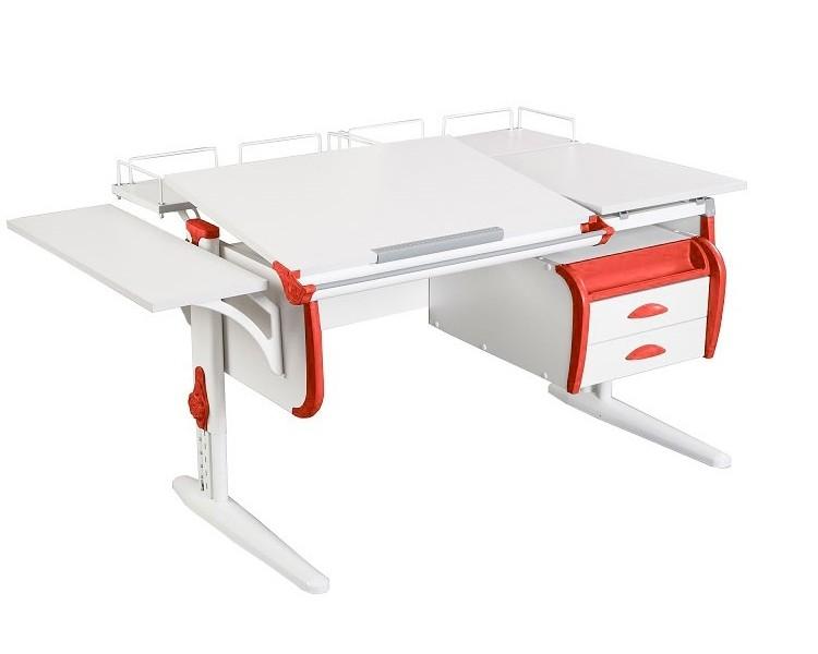 Парта Дэми СУТ-25-05 White Double Белый КрасныйПарты и столы<br><br>Цвет материала: Белый; Цвет каркаса: Белый; Цвет: Красный; Бренд: Дэми; Ширина (см): 145; Глубина (см): 80; Высота (см): 53-81,5;